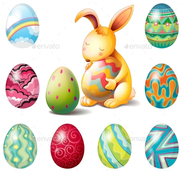 Easter eggs and Bunny - Animals Characters
