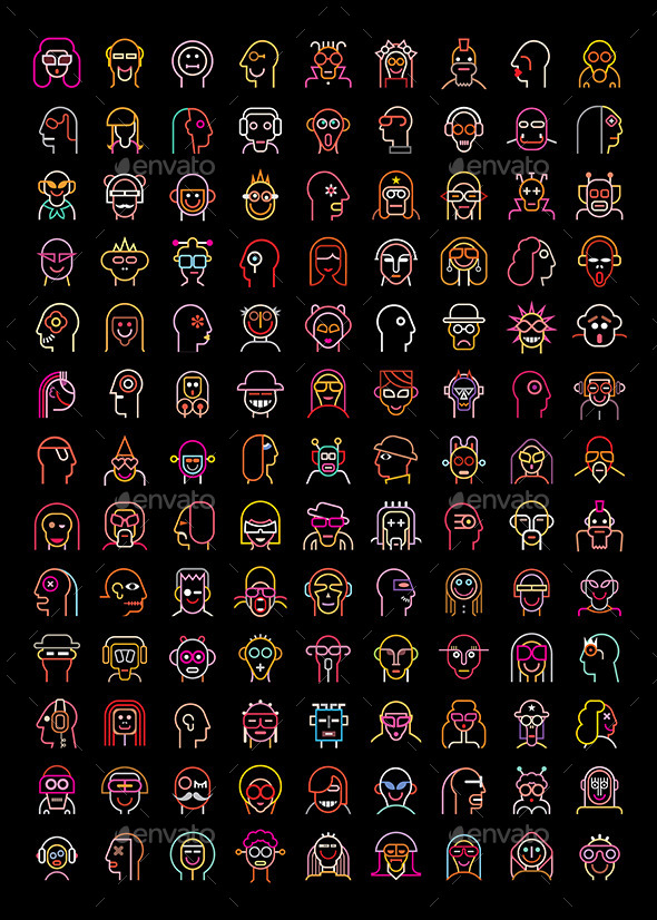 Neon Avatars - People Characters