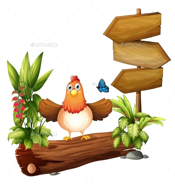 Arrow Boards with a Hen and a Butterfly - Animals Characters