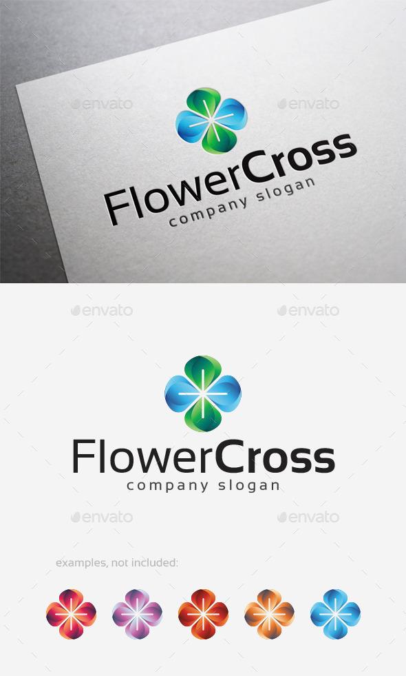 Flower Cross Logo - Symbols Logo Templates