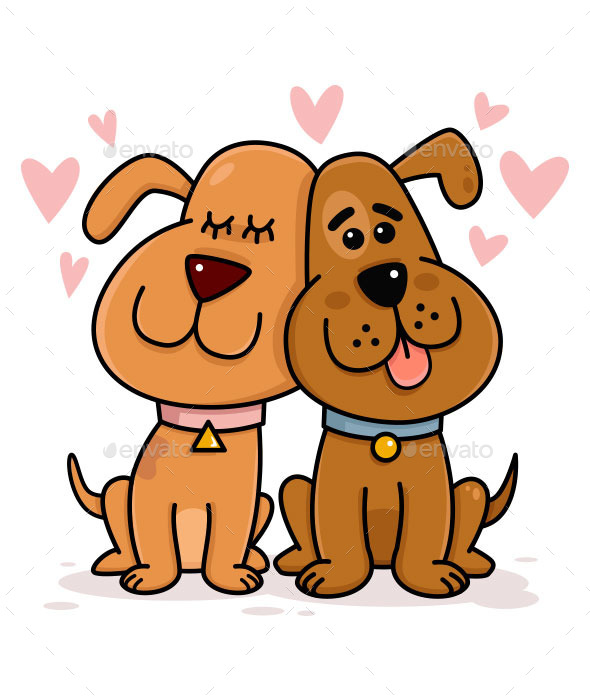 Dogs Couple in Love - Animals Characters