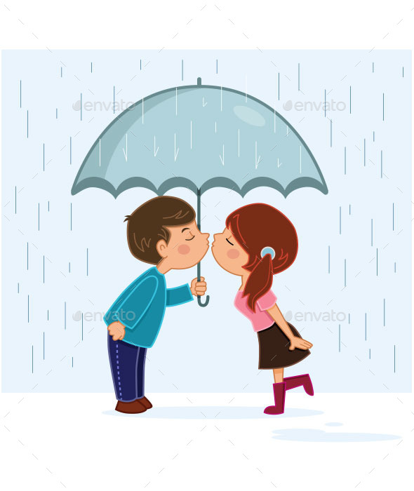 Couple Kissing in the Rain - People Characters