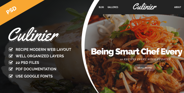 Culinier – Modern Food Recipe PSD Template