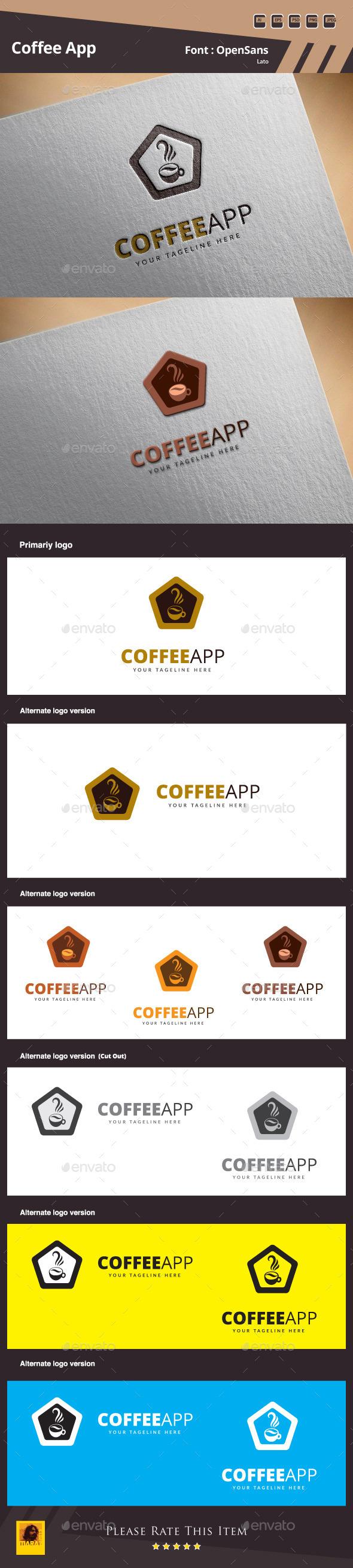 Coffee App Logo Template - Food Logo Templates