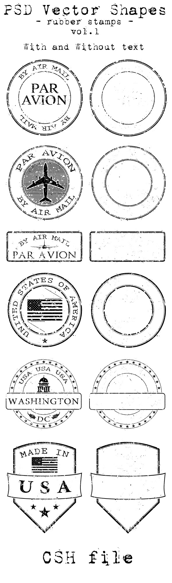 PSD Vector Shapes - rubber stamps - Vol 1. - Miscellaneous Shapes