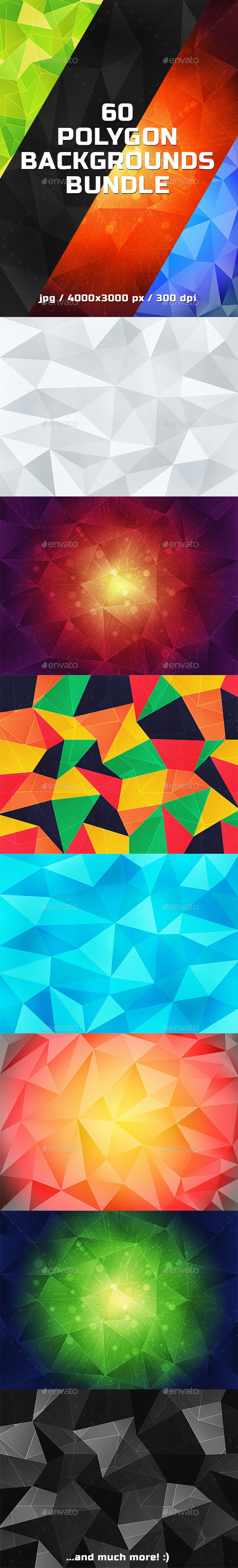 60 Polygon Backgrounds Bundle - Abstract Backgrounds