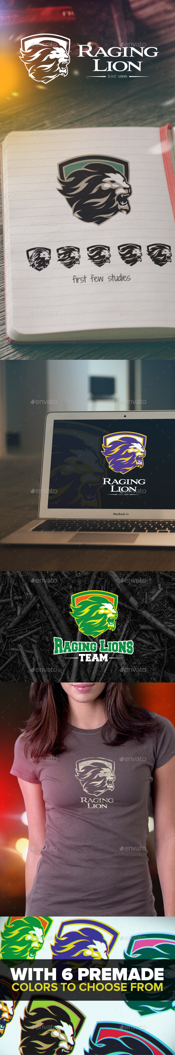 Raging Lion Logo - Animals Logo Templates