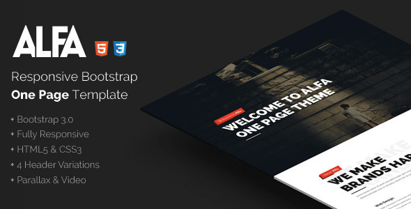 Alfa – Responsive Bootstrap One Page Template