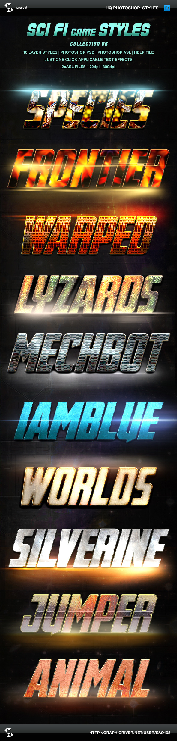 Sci-fi Game Styles - Collection 6 - Text Effects Styles