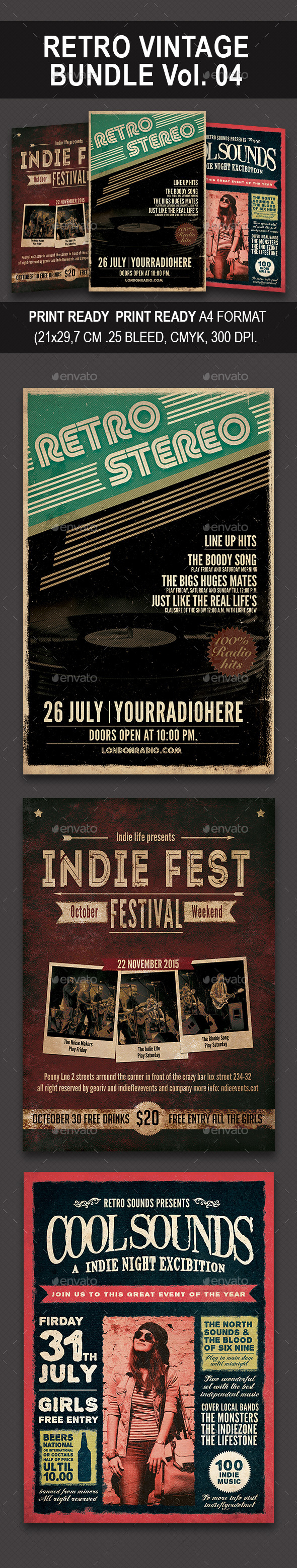 Retro Vintage Bundle 04 - Events Flyers
