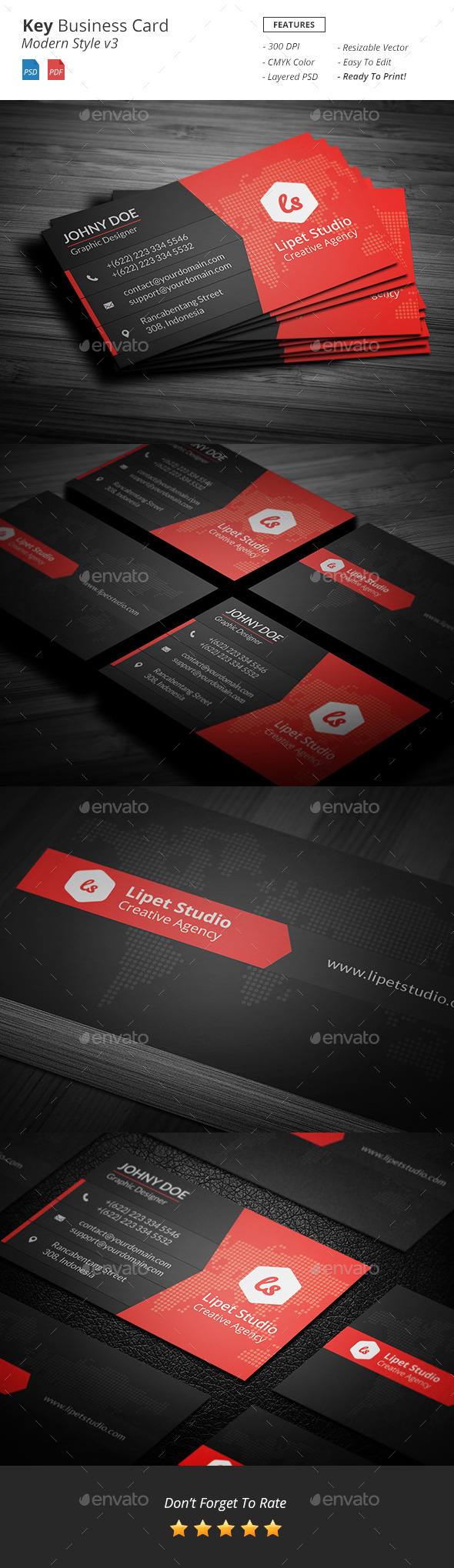 Key - Modern Business Card Template v3 - Corporate Business Cards