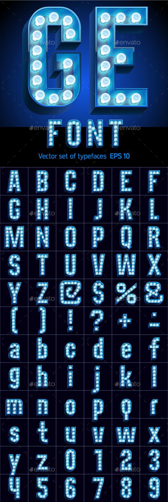 Realistic Lamp Board Alphabet - Decorative Symbols Decorative
