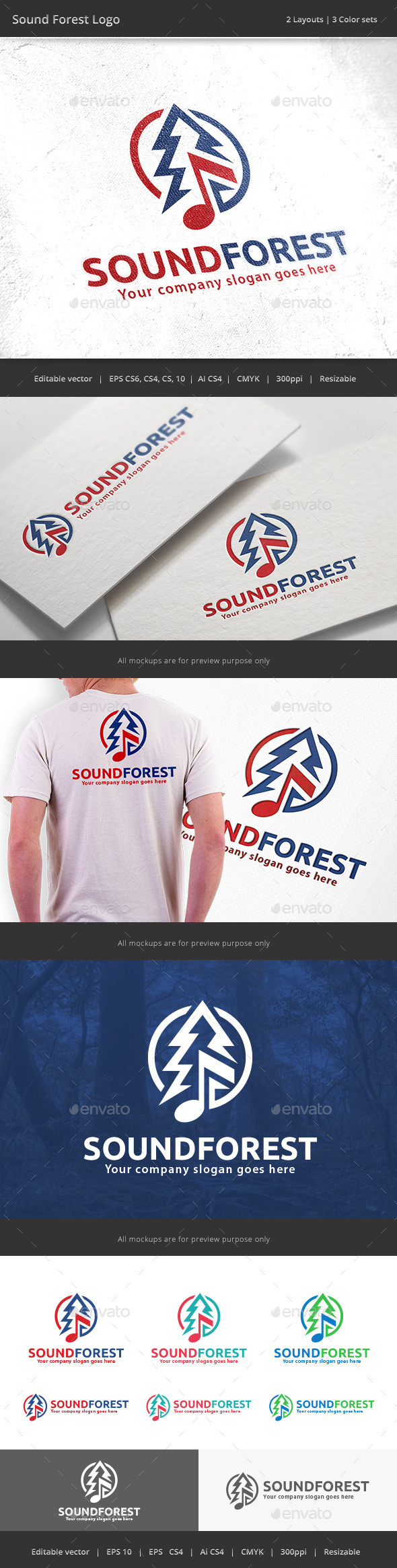 Sound Forest Logo - Vector Abstract
