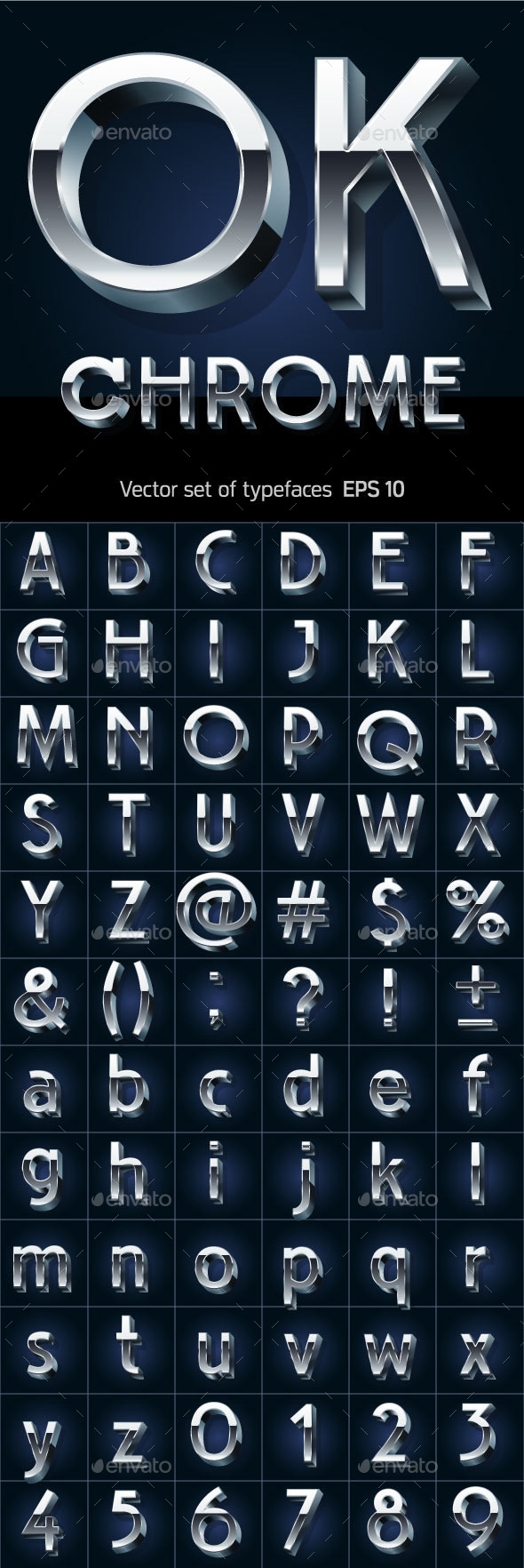 Illustration of Silver or Aluminum 3D Alphabet - Decorative Symbols Decorative