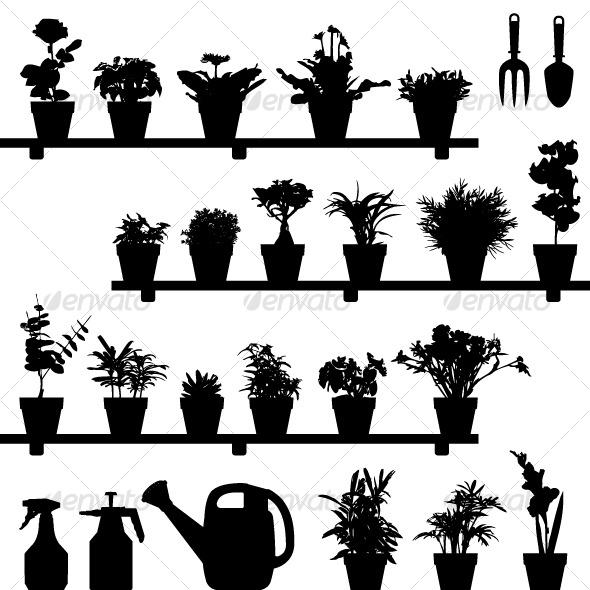 Flower Plant Pot Silhouette Vector - Flowers & Plants Nature