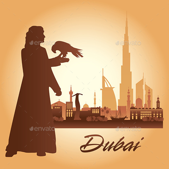 Dubai City Skyline Silhouette Background - Backgrounds Decorative