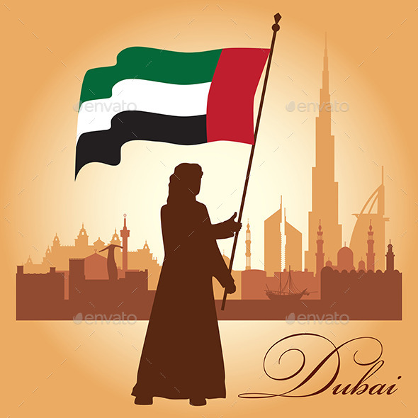 Dubai City Skyline Silhouette Background - Backgrounds Decorative