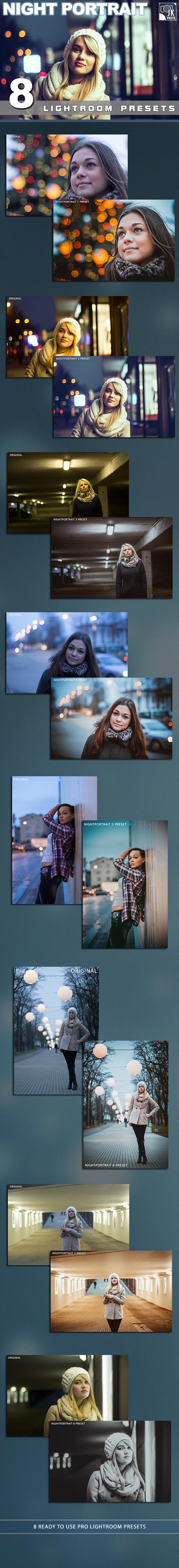 8 Night Portrait Lightroom Presets - Portrait Lightroom Presets