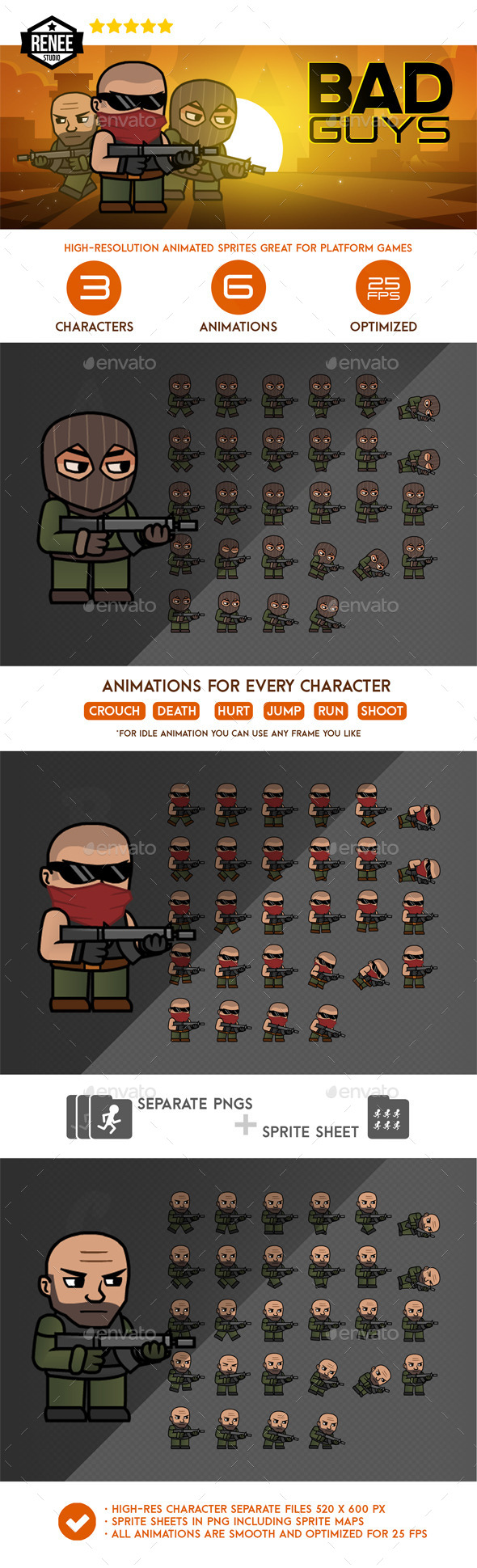 Bad Guys Animated Spritesheet Pack - Sprites Game Assets