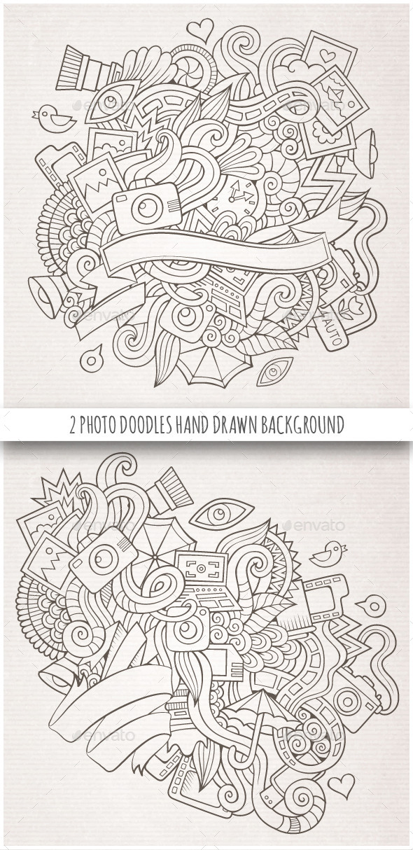 2 Photo Doodles Sketch Backgrounds - Technology Conceptual