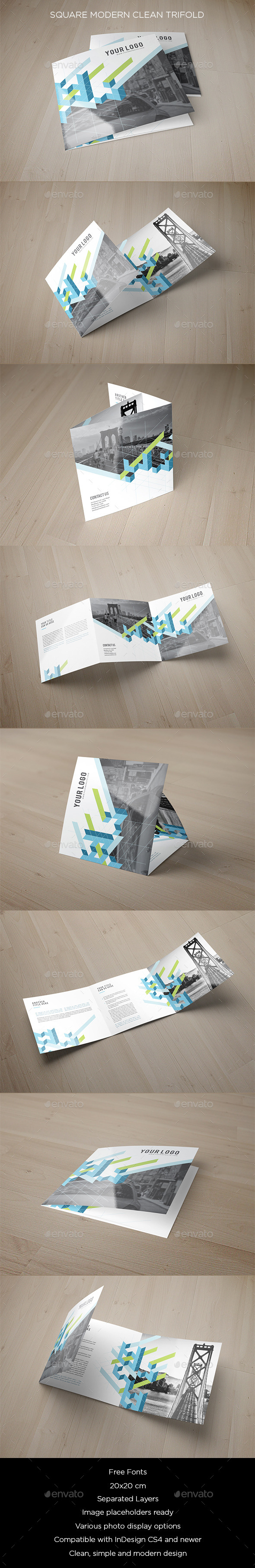 Square Modern Clean Trifold - Brochures Print Templates