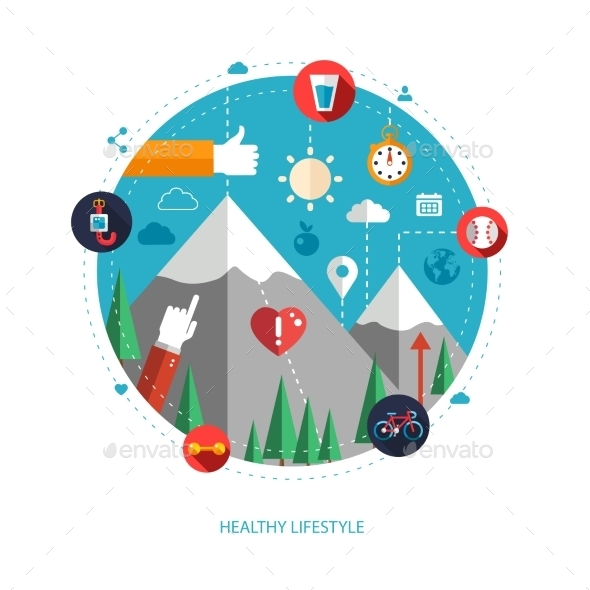 Set of Sport and Fitness Icons for Health Lifestyle - Sports/Activity Conceptual