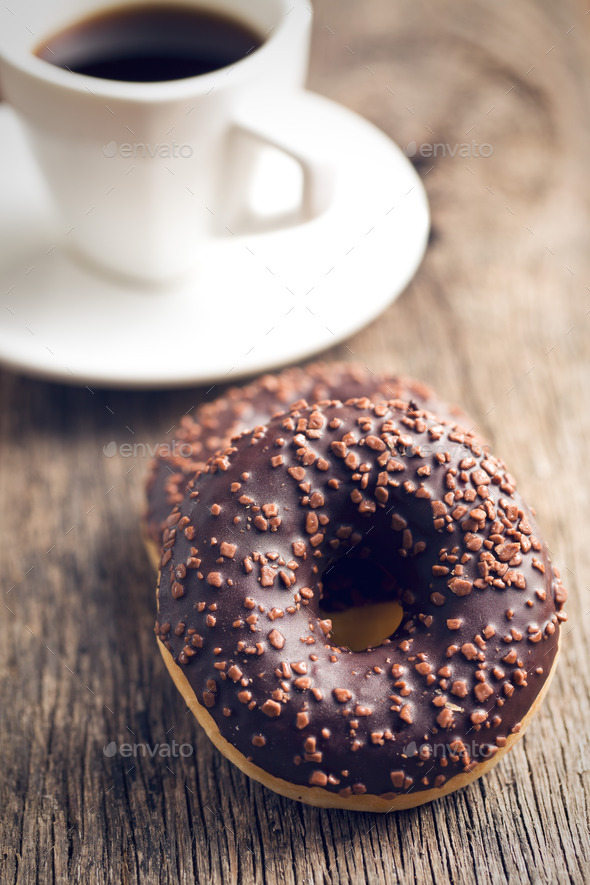 chocolate donuts and coffee - Stock Photo - Images