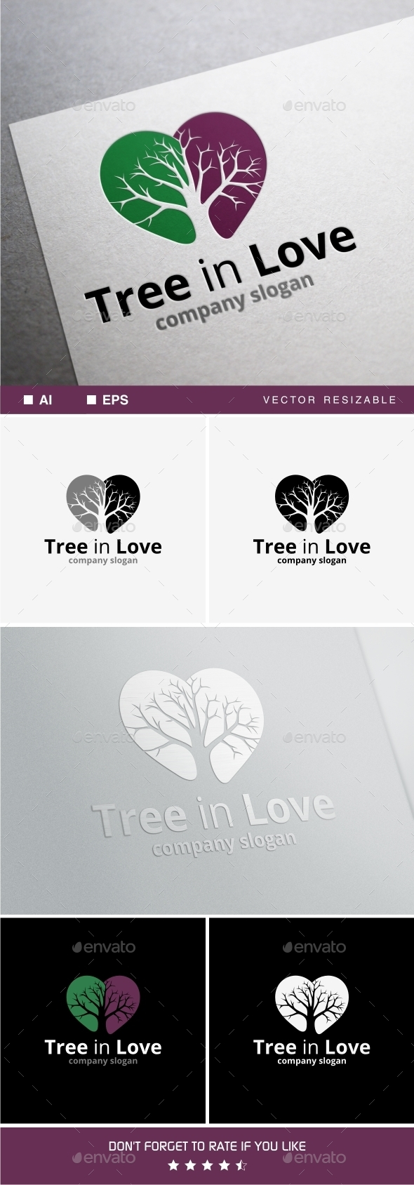 Tree in Love - Nature Logo Templates