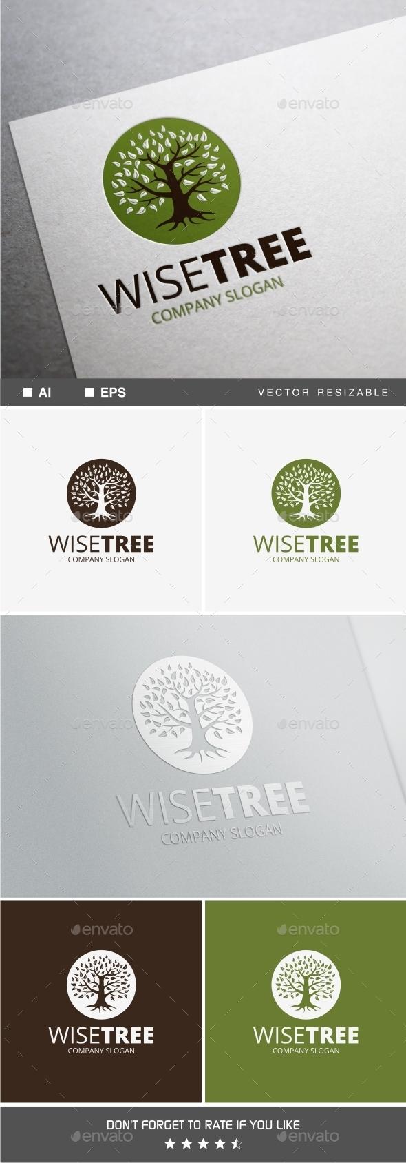 Wise Tree Logo - Nature Logo Templates