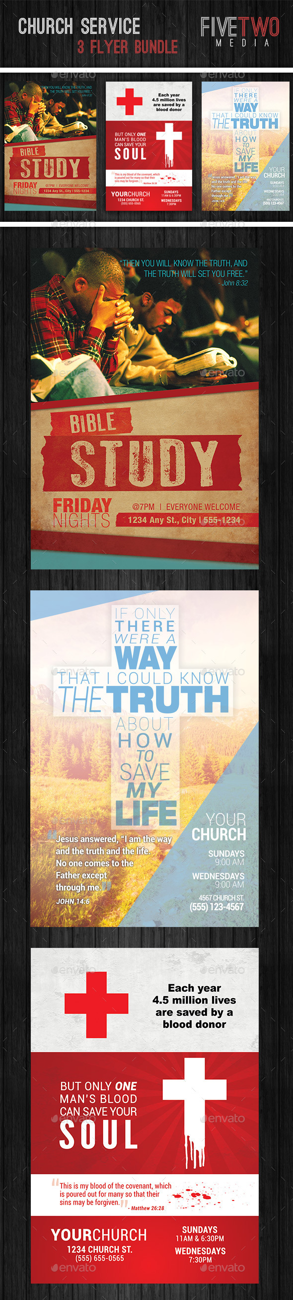 Church Service Flyer Bundle - Church Flyers