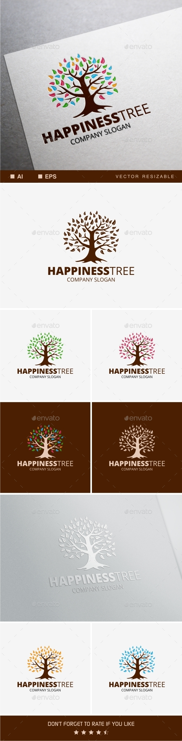 Happiness Tree  - Nature Logo Templates