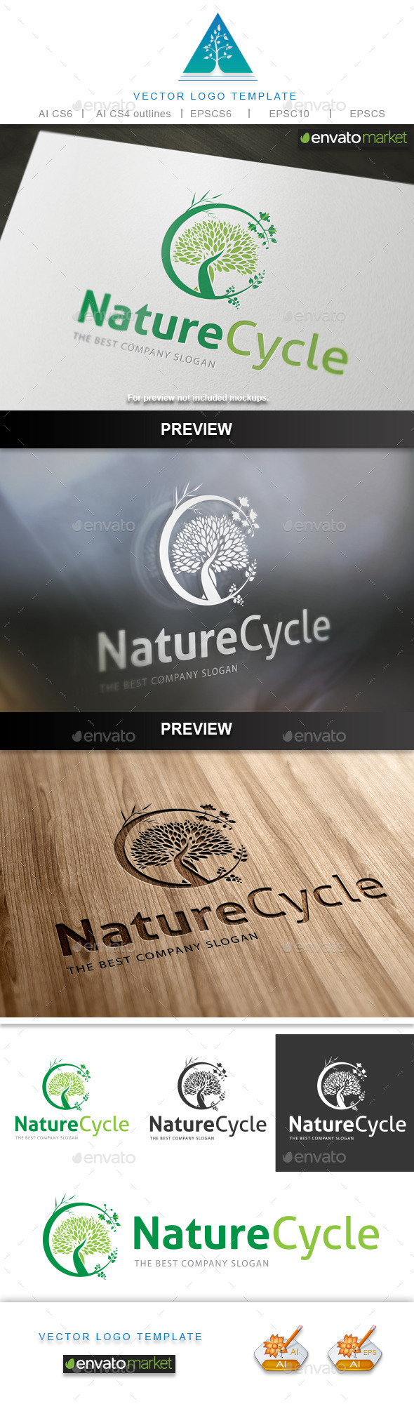 Nature Cycle Logo - Nature Logo Templates