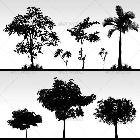 Tree Bush Grass Silhouette Vector - Flowers & Plants Nature