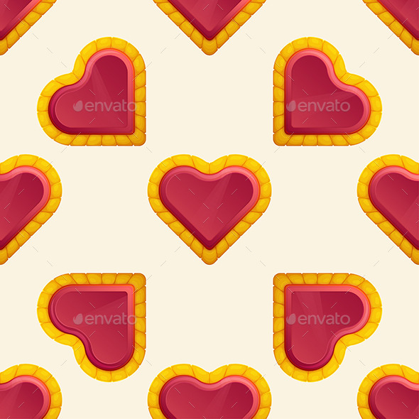 Golden Heart Pattern - Patterns Decorative