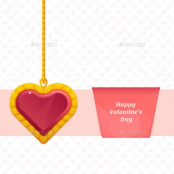 Heart On a Chain Baner - Conceptual Vectors
