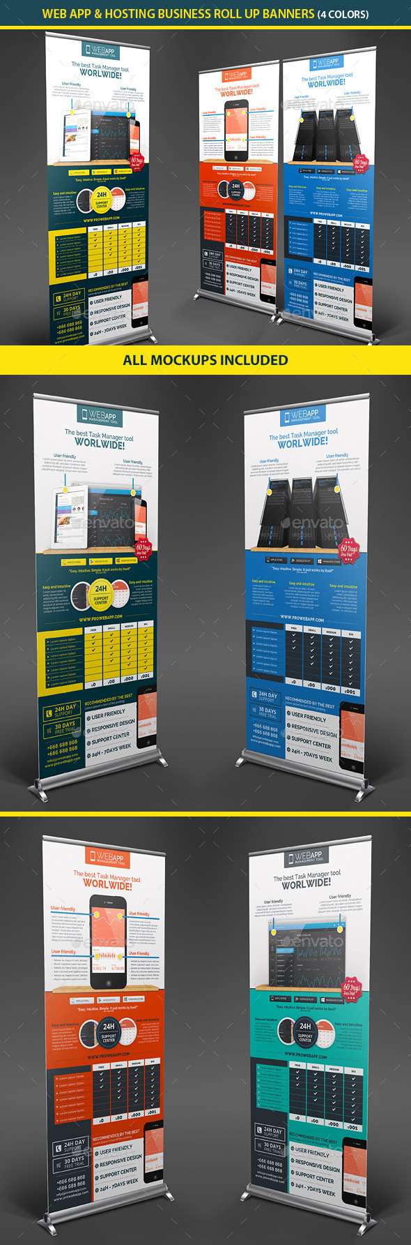 Web App Tech & Hosting Roll Up Banners - Signage Print Templates