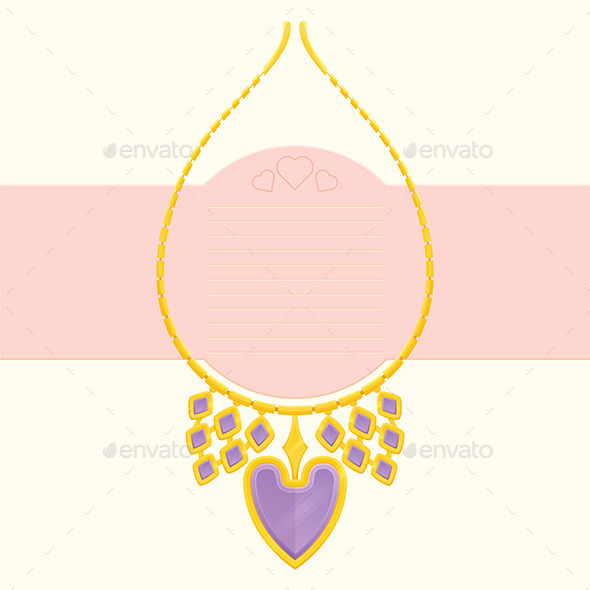 Necklace With Heart - Objects Vectors
