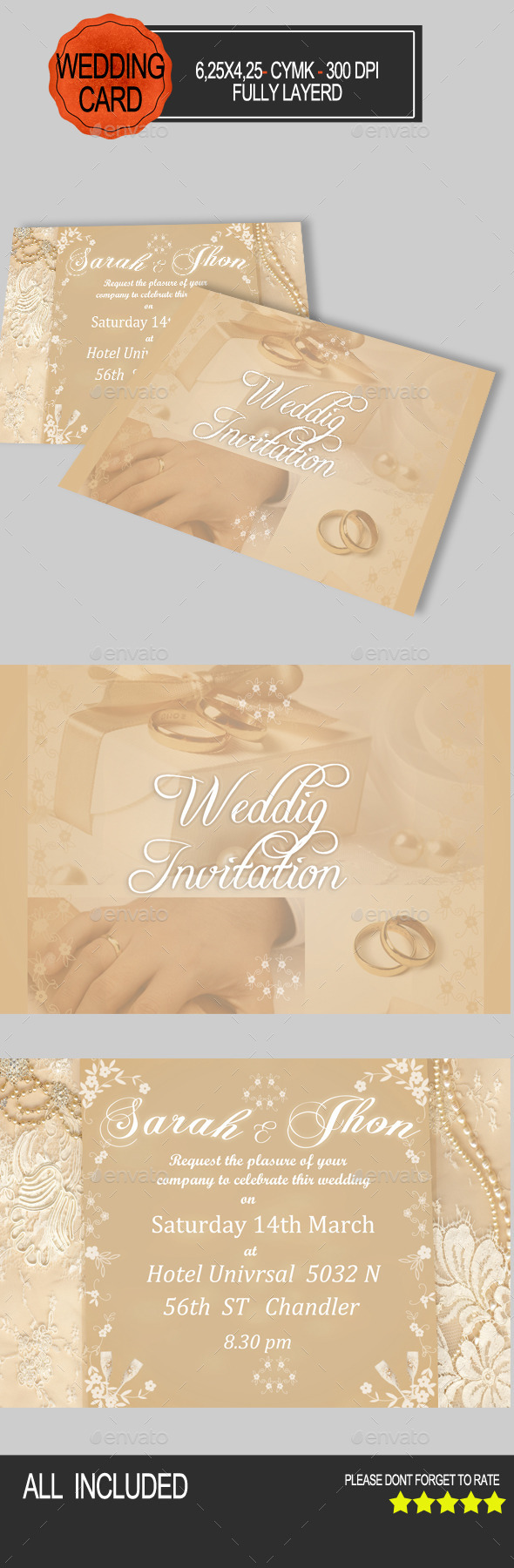 Elegant Wedding Card Invitation - Weddings Cards & Invites