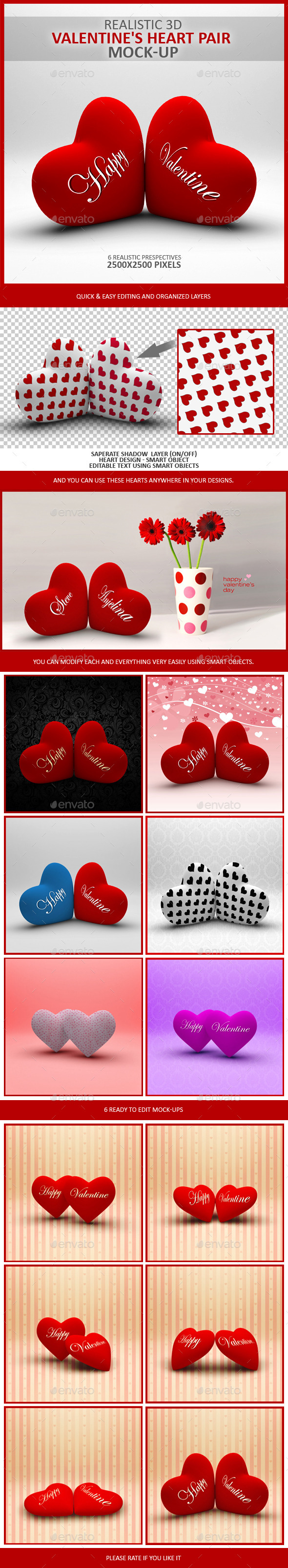 Valentine's Heart Pair Mock-Up - Product Mock-Ups Graphics