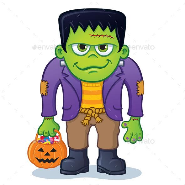 Frankenstein Monster with Pumpkin Pail - Halloween Seasons/Holidays