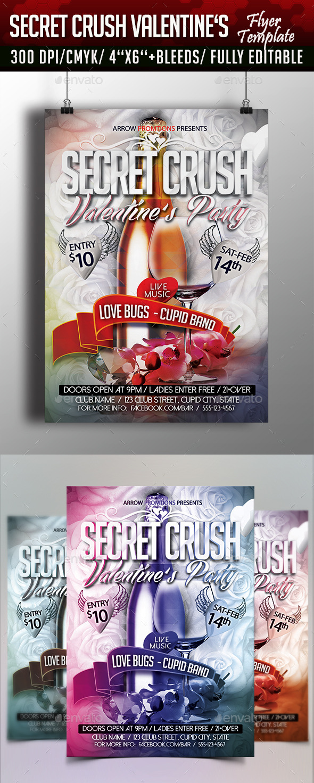 Secret Crush Valentine's Flyer Template - Flyers Print Templates