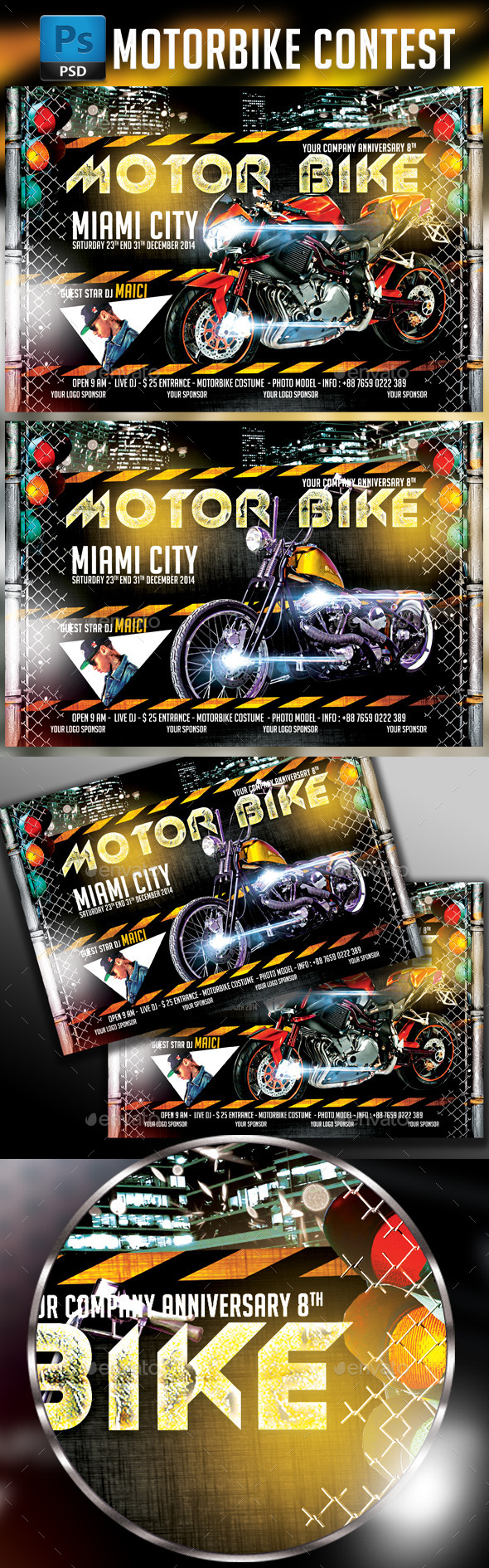 Motorbike Flyer I Horizontal Template 2in1 - Events Flyers