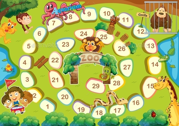 Zoo Theme Boardgame - Miscellaneous Vectors
