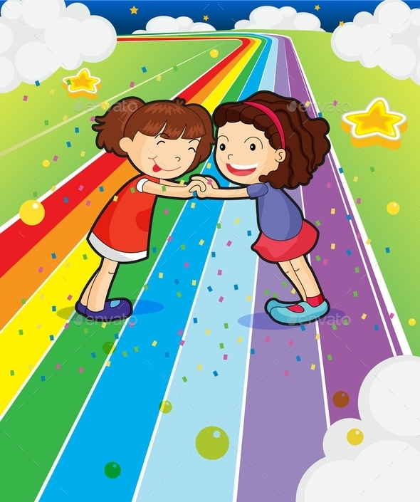 Two Girls Holding Hands at a Colorful Road - People Characters
