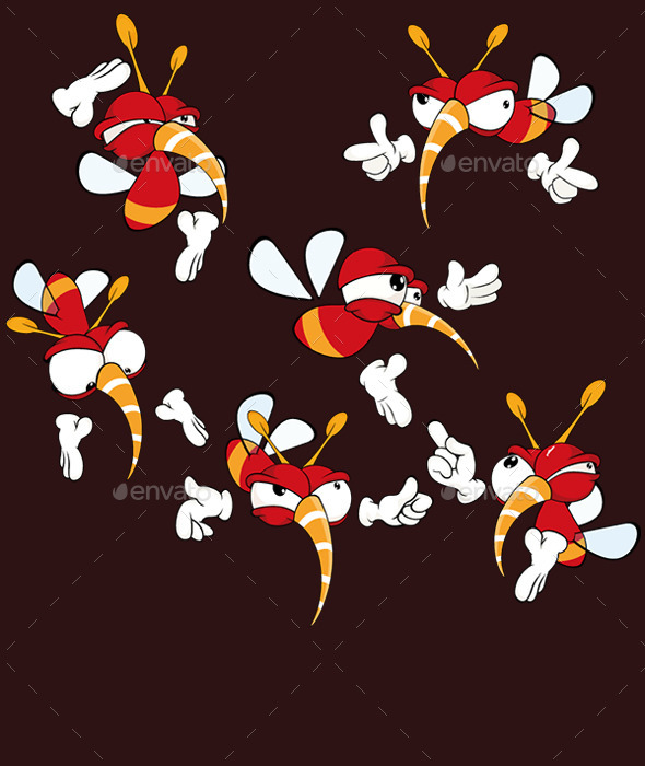 Set of Red Insect Cartoons - Animals Characters