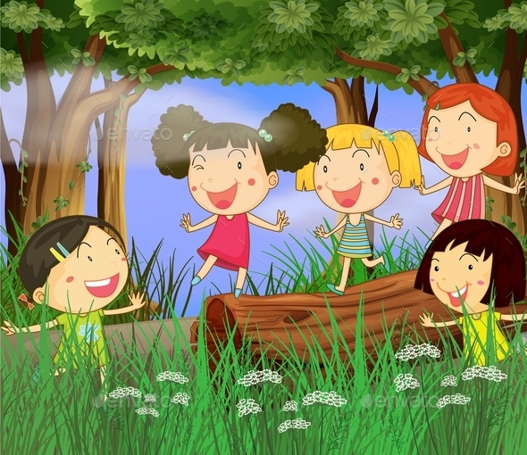 Children Playing in the Woods - People Characters
