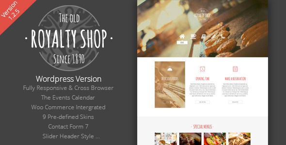 Royalty Shop - Restaurant Wordpress Theme - Food Retail