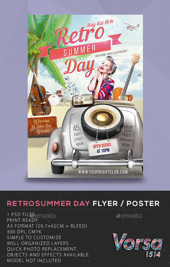 Retro Summer Day Flyer / Poster - Clubs & Parties Events