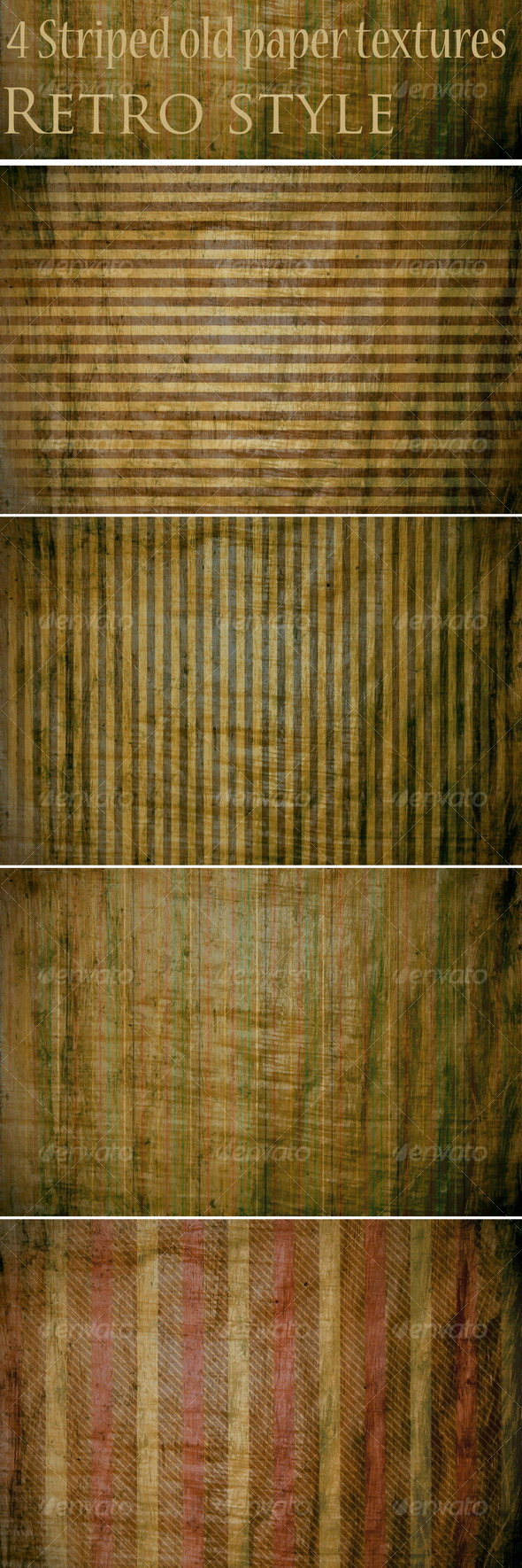 4 Striped old paper textures - Paper Textures