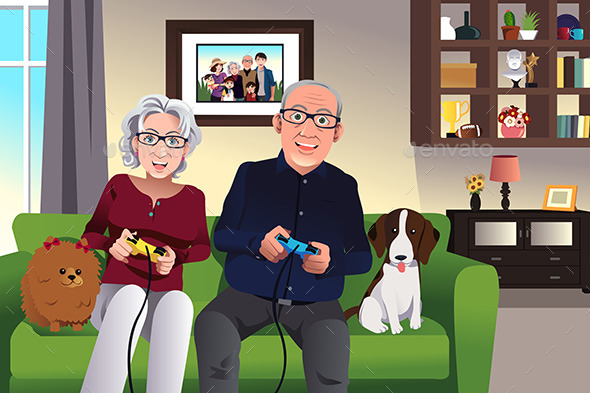 Elderly Couple Playing Games - People Characters